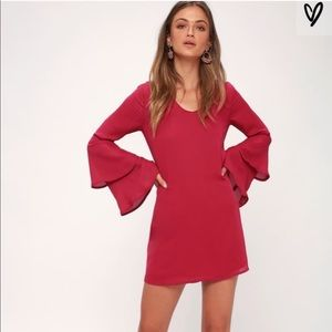 Lulu's Pink Tiered Bell Sleeve Shift Dress NWT